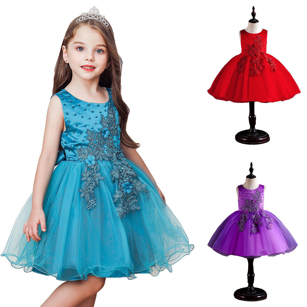 Flower Girls Pageant Princess Tulle Tutu Dress Wedding Birthday Party Ball Gown