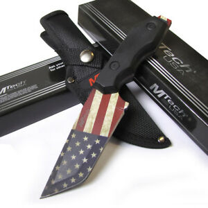 Patriot StreetFighter Fixed Blade Hunting Knife Dagger w/Nylon Sheath Flag Blade