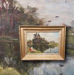 Plain-air-Impressionist-aus-Frankreich-Original-altes-Olgemaelde-signiert-DURET