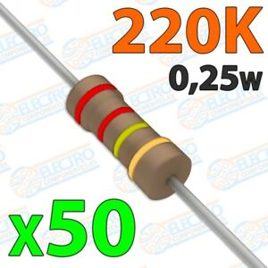Resistencia-220K-ohm-0-25w-5-300v-Lote-50-unidades-Arduino-Electronica-DIY