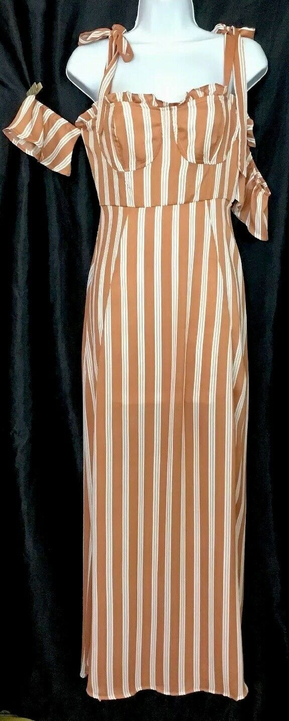 Nasty Gal Cold Shoulder Maxi Dress Peach Stripe Slits Nwt Size 2