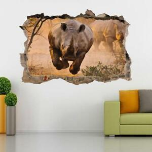 Rhinoceros Rhino 3D Smashed Wall Sticker Decal Home Decor Art Mural Animals J474