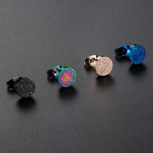 1X-Fashion-Women-Men-Titanium-Steel-Frosted-Ear-Stud-Earrings-Jewellery-Gifts