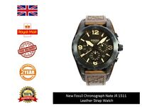 Genuine Fossil Men's Luxury Leather Collection Chronograph Watch Jr1511 Uk