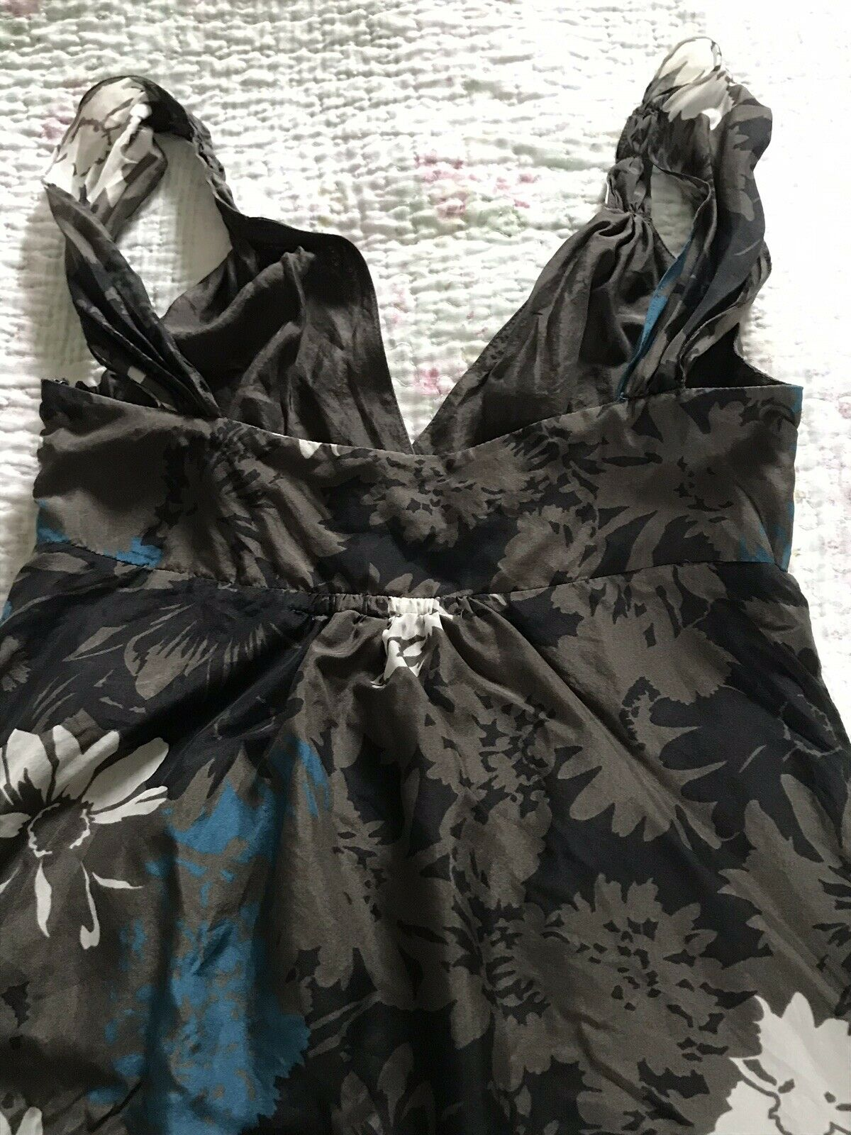 Beautiful JIGSAW Pure Silk braun   Blau  Weiß A-line Dress-Größe 8 VGC