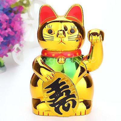 "6"" Chinese Lucky Wealth Waving Cat Beckoning Maneki Golden Powered by AA Battery"