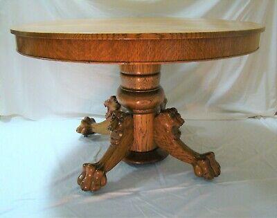 Antique Round Oak Dining Table 48 Lion