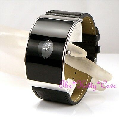 Retro Black Glass Curved Designer Eames Wag Wide Statement Leather Cuff Watch BN