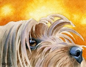 YORKSHIRE-TERRIER-Dog-Watercolor-8-x-10-Art-Print-Signed-by-Artist-DJR