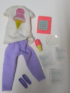 VTG 80s Clothes lot ICE CREAM SHOP OUTFIT CONE SHOES MENUS CALCULATOR Barbie