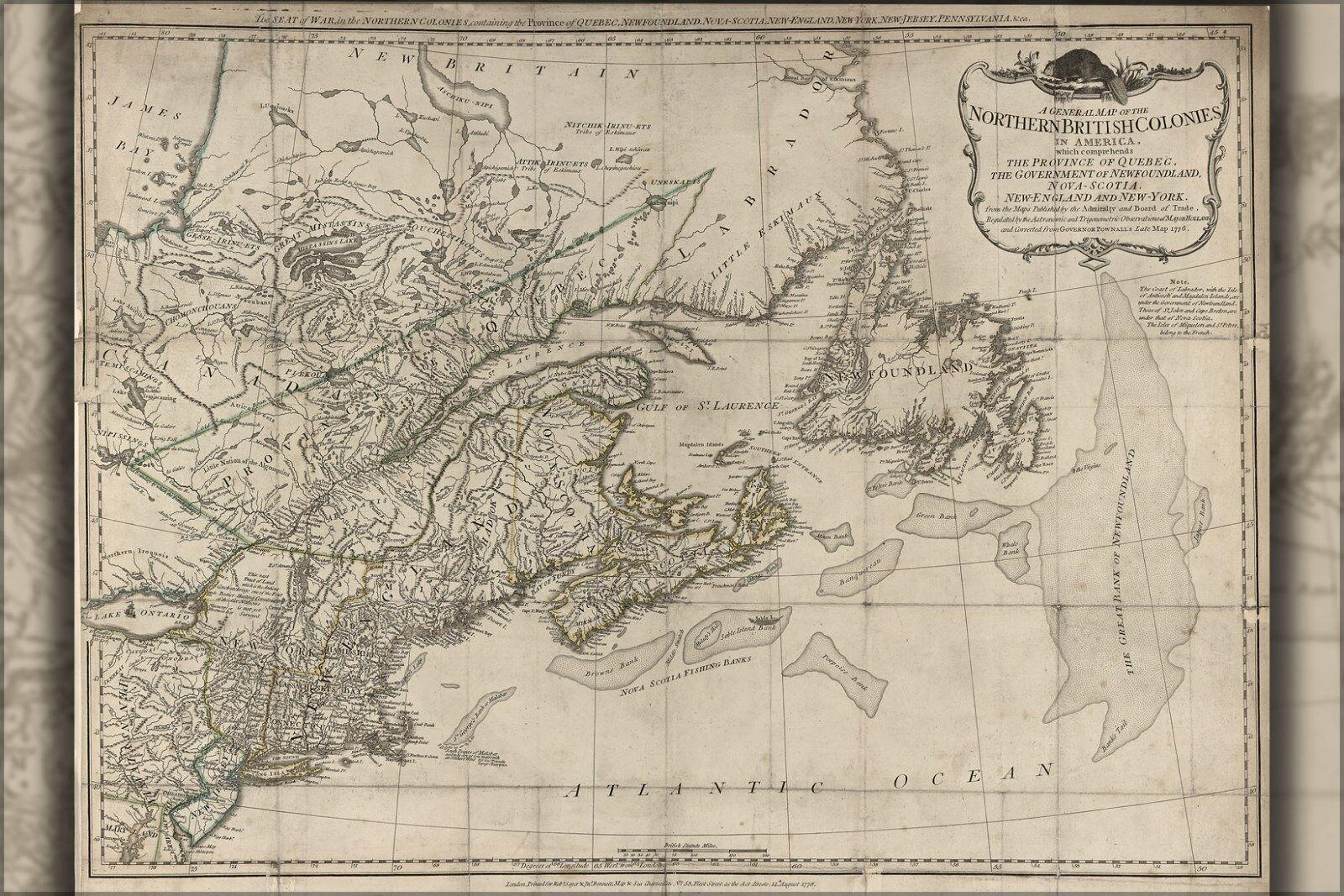 Plakat, Viele Größen; Karte von Neu-England Massachusetts