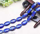 10pcs 25x18mm Lampwork Glass Handmade Oval Finding Loose Spacer Beads Royal Blue