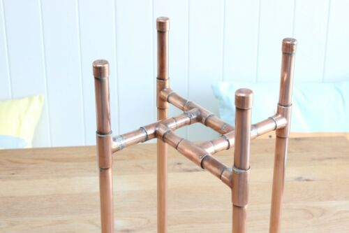 Copper Pipe Plant Pot Stand Handmade Industrial Metal Vintage Retro