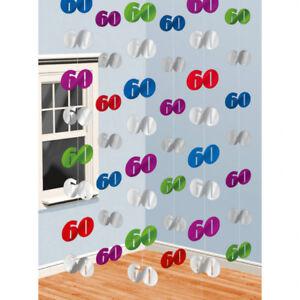 60 Geburtstag Party Strings Bunt Raum Deko Dekoration Ebay