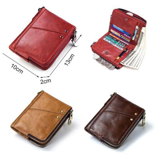 Wallet Women Cards Cash Organizer Genuine Leather Layer Pocket Zipper RFID Block