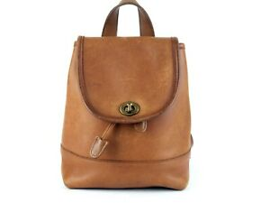 aac6d6243c Image is loading Authentic-COACH-Brown-Leather-Small-Back-Pack-Shoulder-