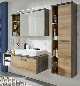 Das Bild Wird Geladen Badmoebel Badezimmer Set In Eiche Honig Beton Design