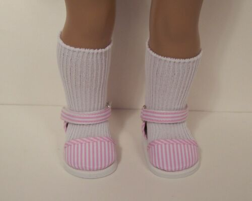 """Debs PINK Stripe Sandal EZ2 Close Flats Doll Shoes For 18/"""" American Girl"""