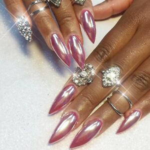 ROSE-GOLD-NAIL-MIRROR-CHROME-POWDER-EFFECT-Pigment-NAILS-Silver-Pink-Purple