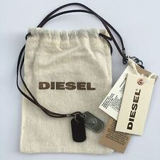 Diesel Mens Albino Brown Dog Tags Necklace Leather Metal BNWT l 34 Jeans RRP £59