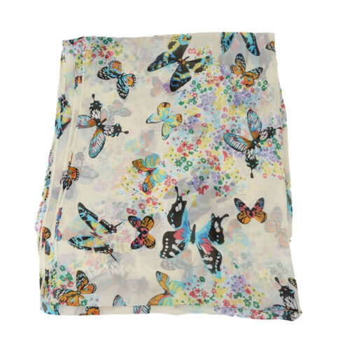 Butterfly Flowers Scarf Long Shawl Spring Chiffon Colourful Pattern