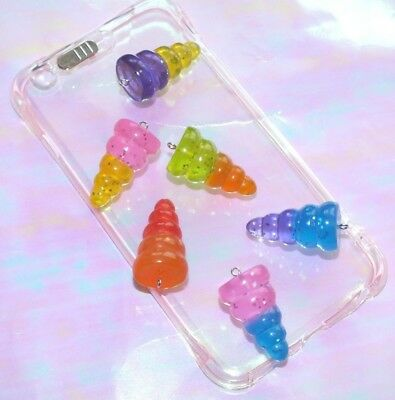 1 Pc Giant Unicorn Horn Charm Pendant Resin Cabochon 3D Not Flatback With Hook