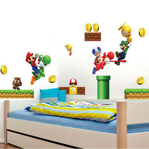 super mario wandaufkleber wandsticker wandtattoo wanddeko kinderzimmer nintendo ebay. Black Bedroom Furniture Sets. Home Design Ideas