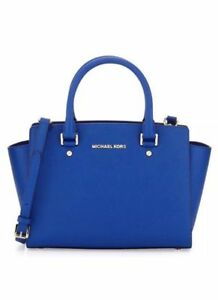 Michael Kors Medium Selma Saffiano Leather Satchel Electric Blue Item No 30t3slms2l