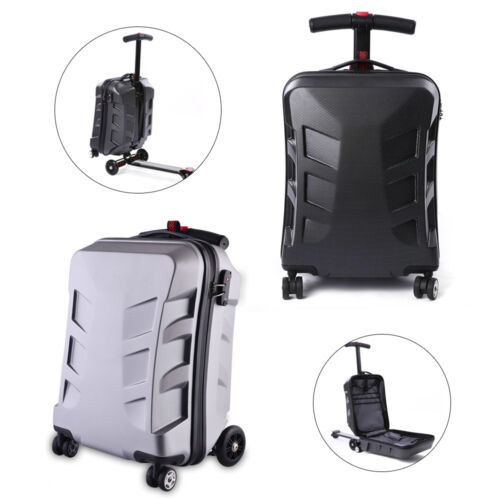 21'' Travel Scooter Luggage Carry Trolley Wheels Case Suitcase Black/Silver USA