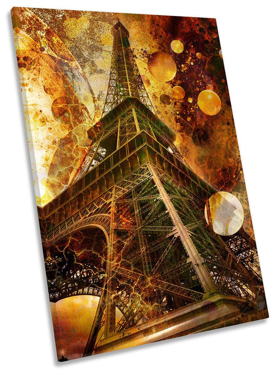 braun Eiffel Tower Paris Picture CANVAS WALL ART Portrait Print