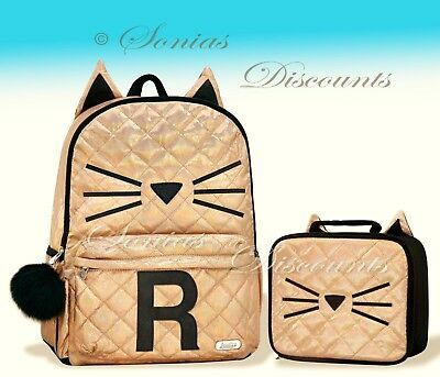 """Justice Initial /""""V/"""" Gold CAT Quilted Backpack+Lunch Tote Set-NWT-Simply Elegant!"""