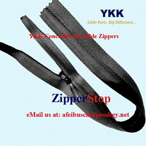 """100 24/"""" Invisible Zippers ~Closed Bottom~ Black ~ YKK"""