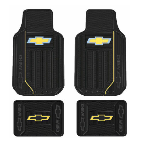 Back All Weather Rubber Floor Mats New Chevy Elite Bowtie Logo Car Truck Front