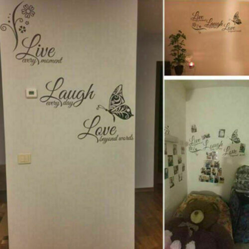 Live Laugh Love Quotes Butterfly Wall Art Stickers Living Room Decal Home Decor