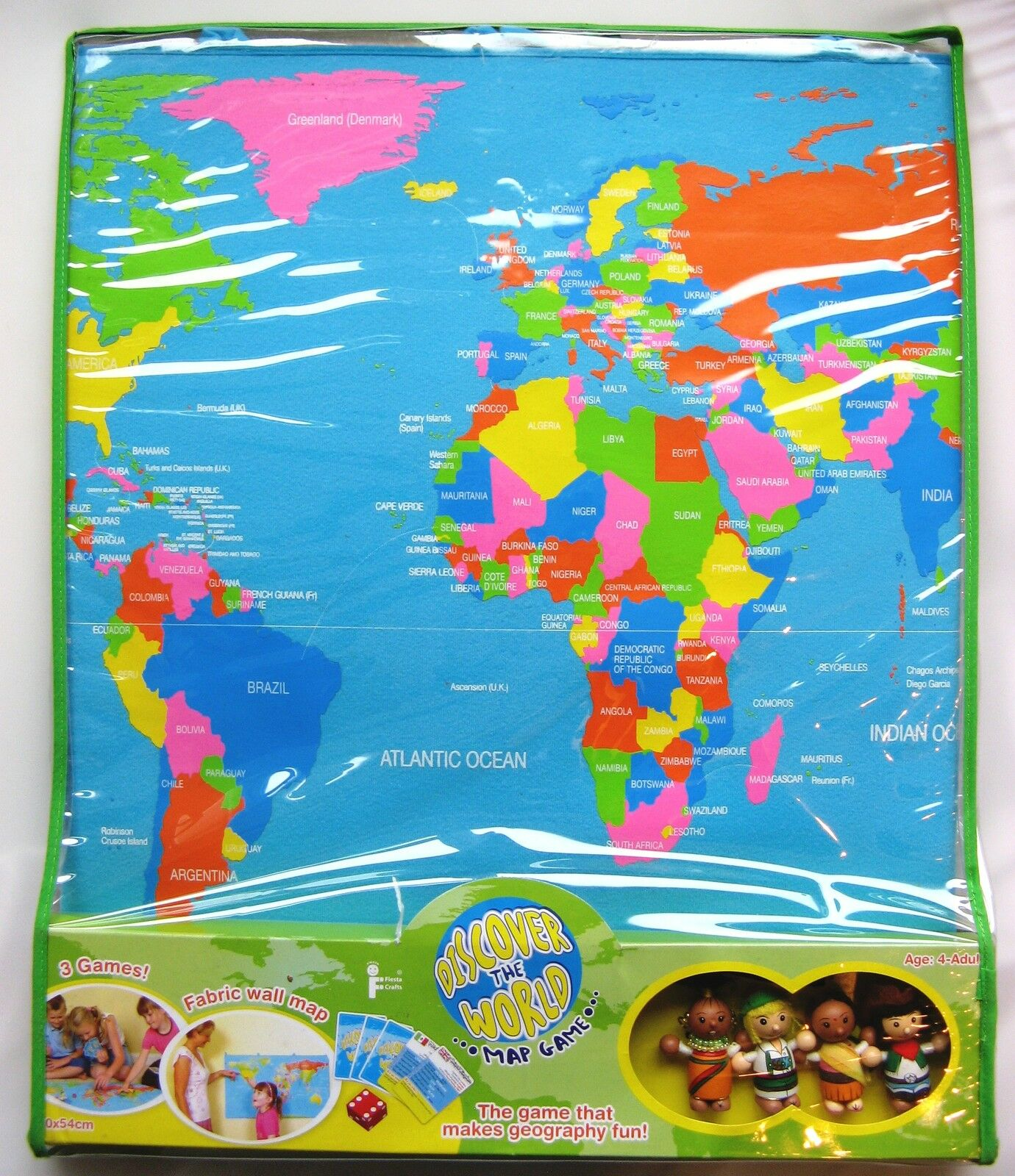 DISCOVER THE WORLD MAP GEOGRAPHY EDUCATIONAL GAME BY FIESTA CRAFTS - BRAND NEW