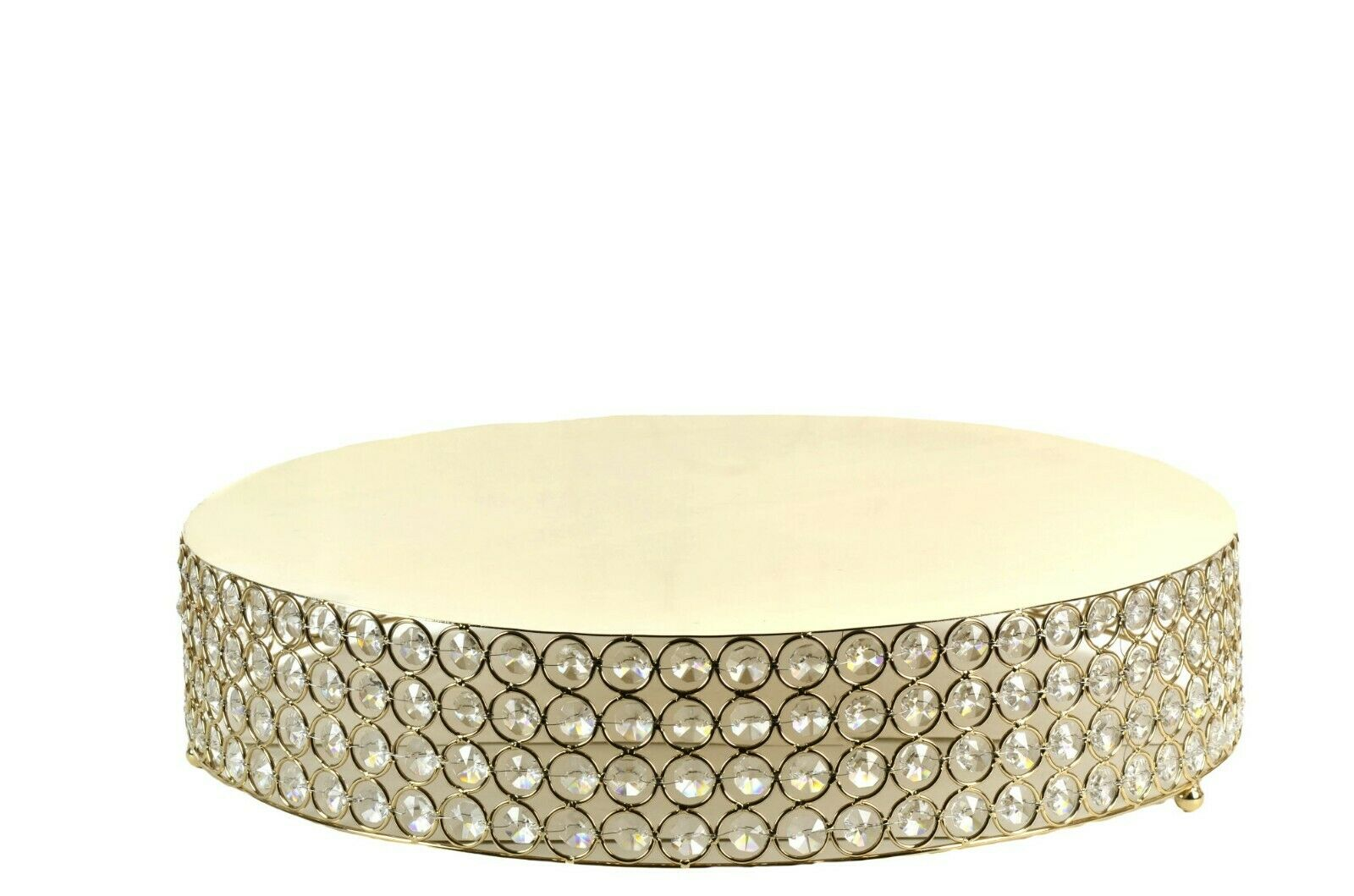 Round Crystal Bead Cake Stand contremarches mariage XV   Shower Dessert Bac 17.5