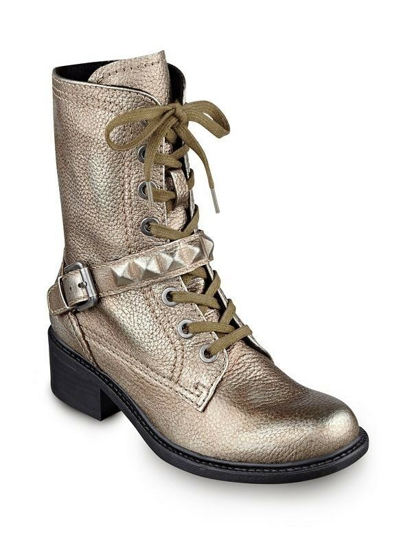 Guess Women's Drew Combat Leather Boots In Pewter Size 6.5