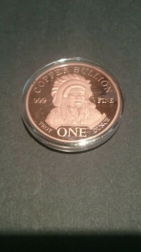Indian And Buffalo 1oz Copper Round