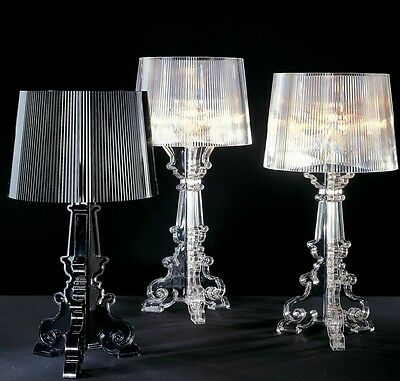 New Modern Contemporary Bourgie CLEAR Transparent Table Desk Lamp Height: 50cm