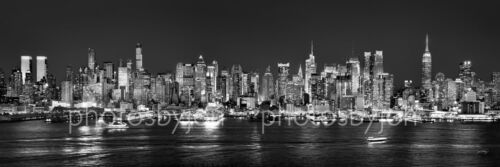 New York City NYC Manhattan Skyline NIGHT 12x36 Photographic Print Poster Pano