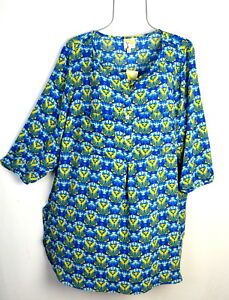 Fig-amp-Flower-Women-039-s-Blue-Floral-Print-Boho-Tunic-Blouse-Top-Plus-Size-1X-NWT