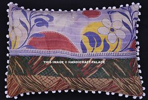 Indian-Floral-Design-Vintage-Kantha-Cushion-Cover-Pom-Lace-Decorated-Bad-Pillows