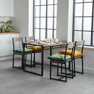 Details About Rustic Industrial Kitchen Dining Table 4 Chairs Wood Metal Breakfast Modern