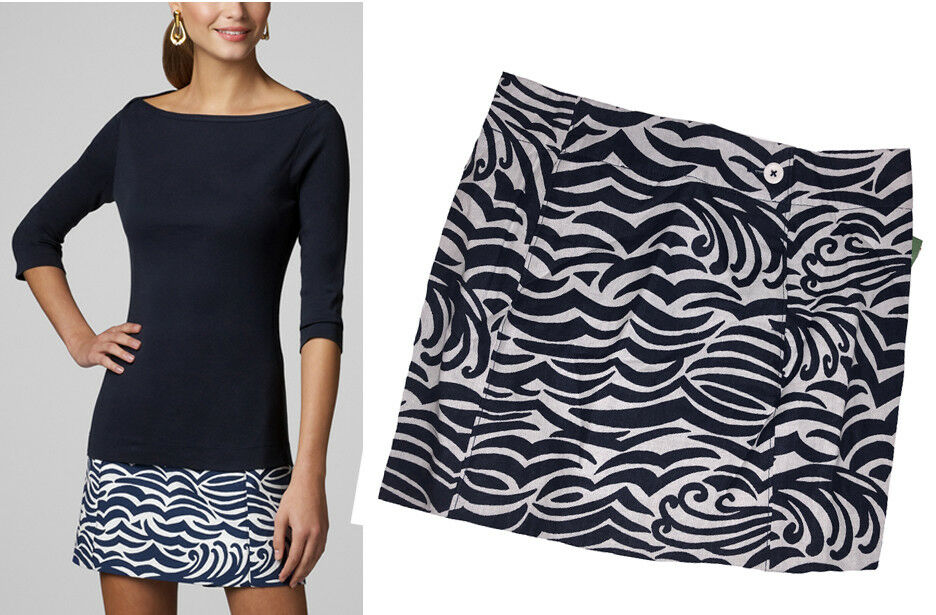 Lilly Pulitzer Maida Bright Navy On The Horizon Jacquard Faux Wrap Mini Skirt 2