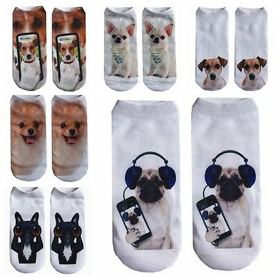 Hot New Animals Dogs 3D Printing Socks Breathable Stretchy Low Ankle Socks Gift