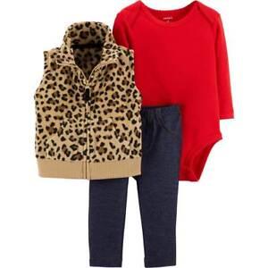 4d4411401 Carter's NEW NWT Baby Girls 12 months Fleece Leopard Vest Bodysuit ...