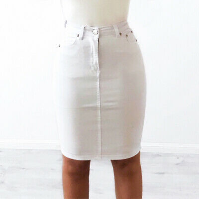 recognized brands street price how to get WAKEE MIDI DENIM SKIRT IN WHITE. SIZE 6-16. | eBay