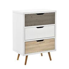 [en.casa] Design Commode Buffet Armoire Blanc/Chêne Table d'appoint Buffet haut