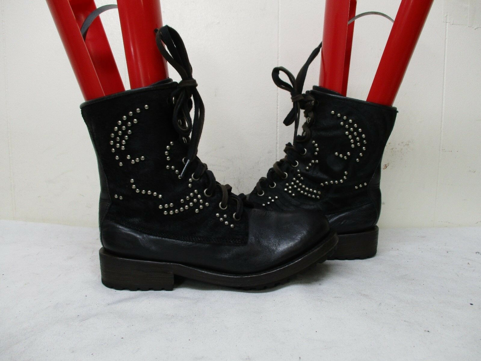Ash Black Leather Studded Hair On Shafts Lace Biker Boots Womens Size 37 EUR