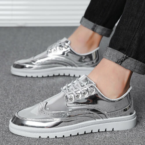 Mens Leisure Sneakers Shoes Boards Wing Tip Shiny Sports Walking Non-slip New B